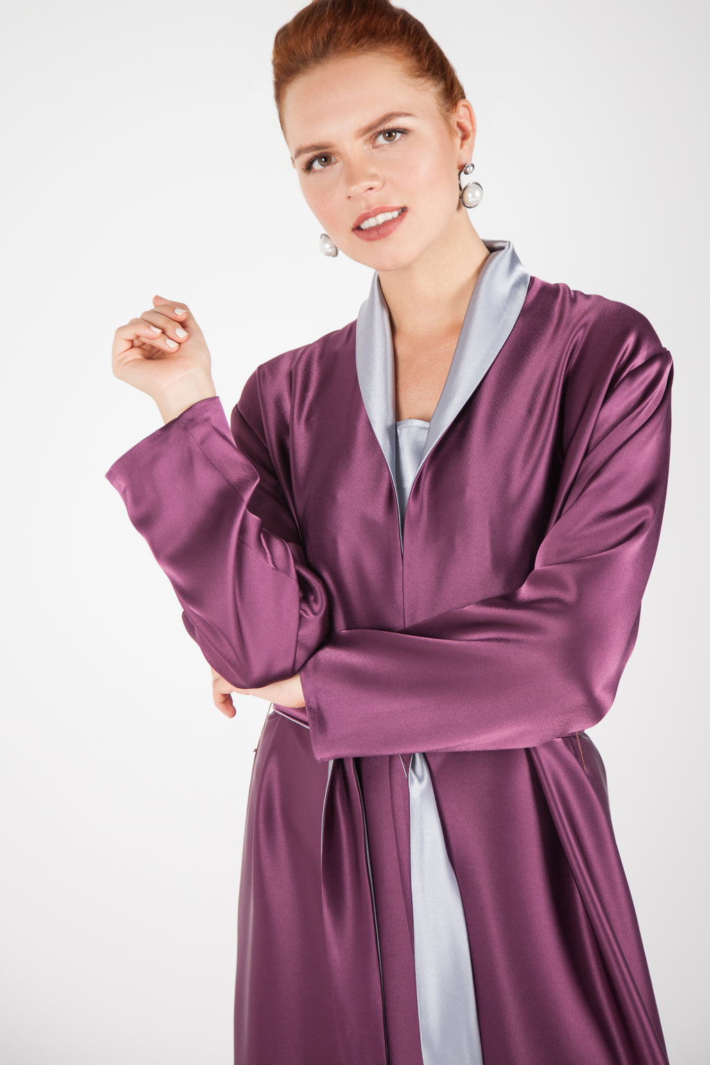 Double-Sided Satin Robe, Silver & Amethyst