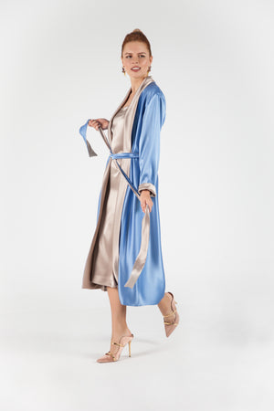Double-Sided Satin Robe, Gold & Sapphire (PREORDER)
