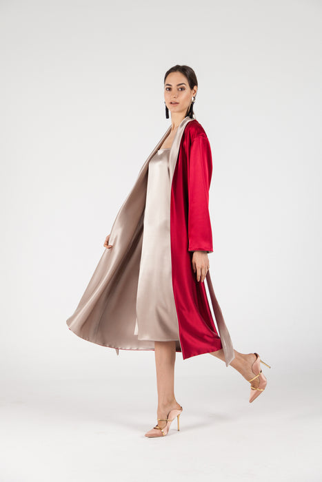 Double-Sided Satin Robe, Gold & Ruby