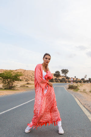Kaftan Modern Vitrage, Salmon orange