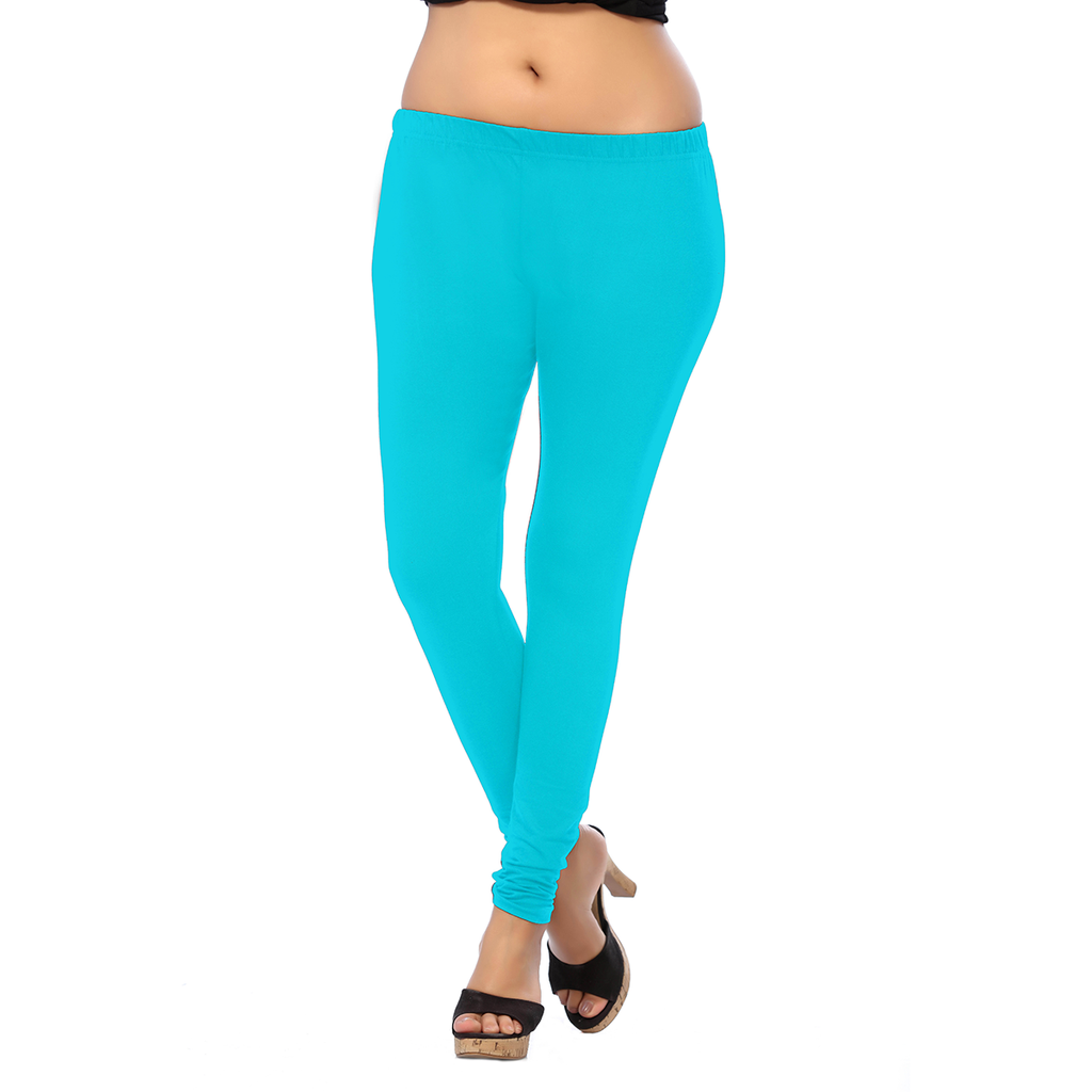 Uptown and Stretchable Bright Turquoise ANMOL COTTON  Length Leggings