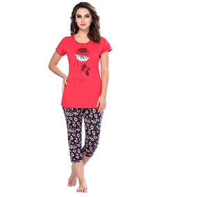 Ladies Cotton Rich Printed  Top & Capri-SW 260