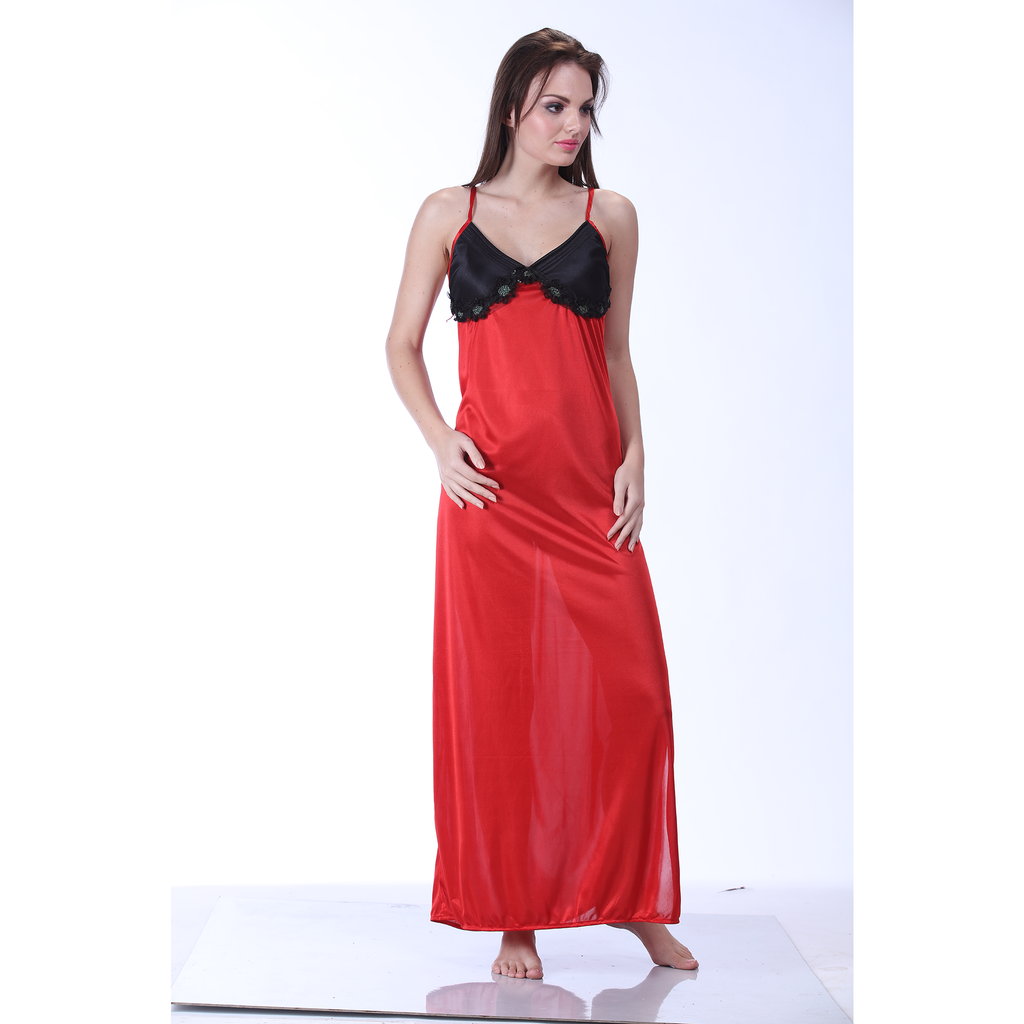 Ladies Two Pcs Satin Full-Length  Nighty Red-SW 2072
