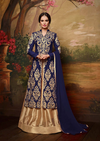 Reeva Trendz Women's Blue Heavy Semi-Sttiched Salwar Suitt