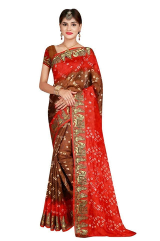 HARSHITA CREATION ART SILK BROWN & ORANGE HAND WOWEN BANDHANI SAREE