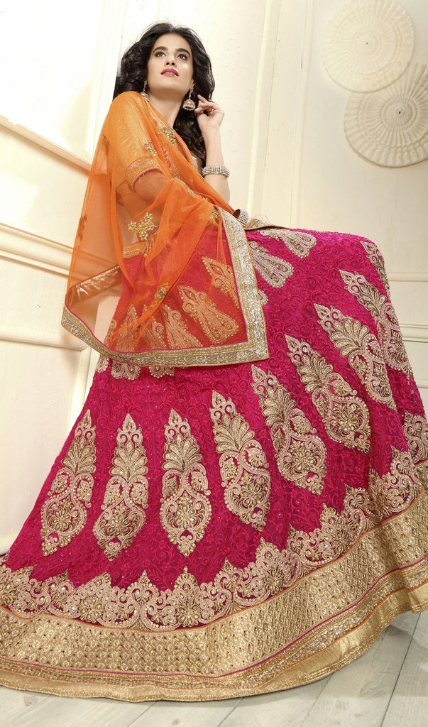 Aasvaa Attractive Women's Embroidered Net Lehenga Choli With Un-Stitched Blouse (NMMYA434_Maroon_Free Size)