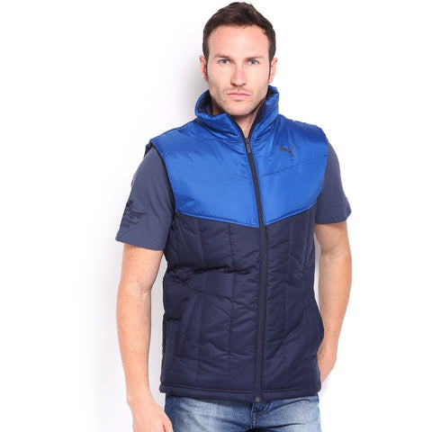 PUMA Men Blue ESS Padded Sleeveless Jacket
