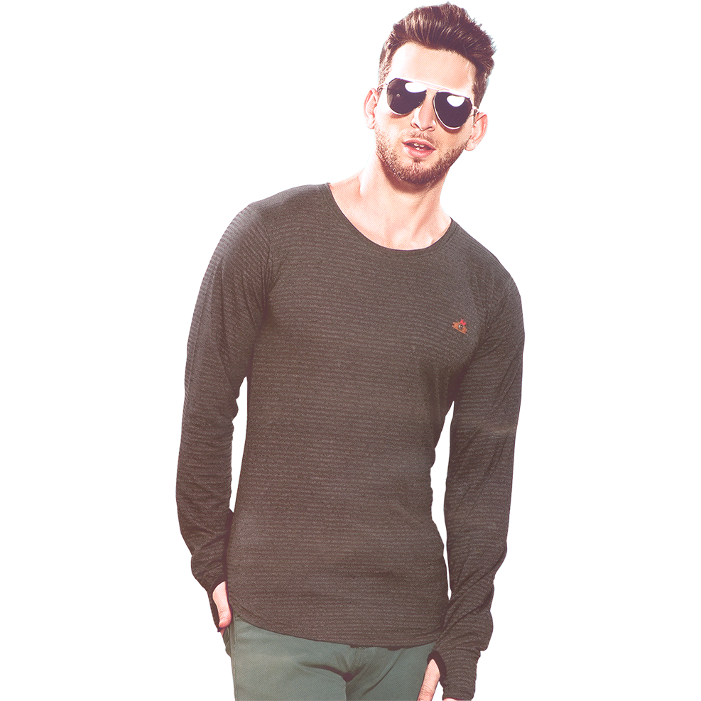 GripsonV540 Dark Green Mens Round Neck Full Sleeves Tshirts