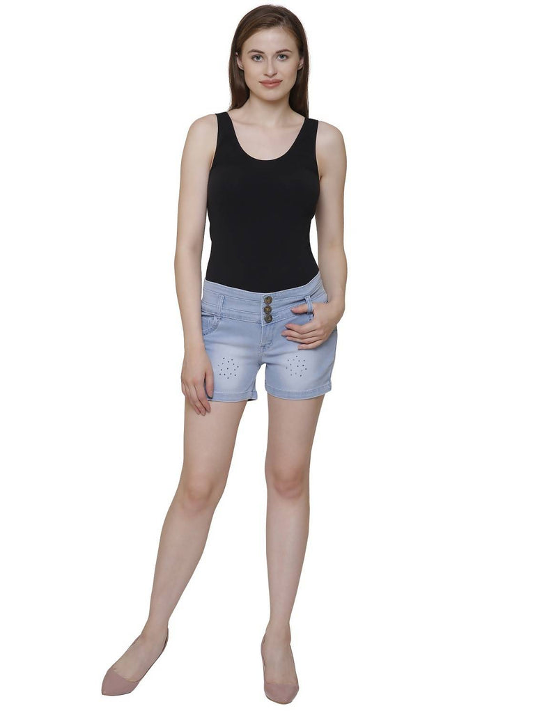 NJ's, Women's Regular Fit Ice Blue Denim Short