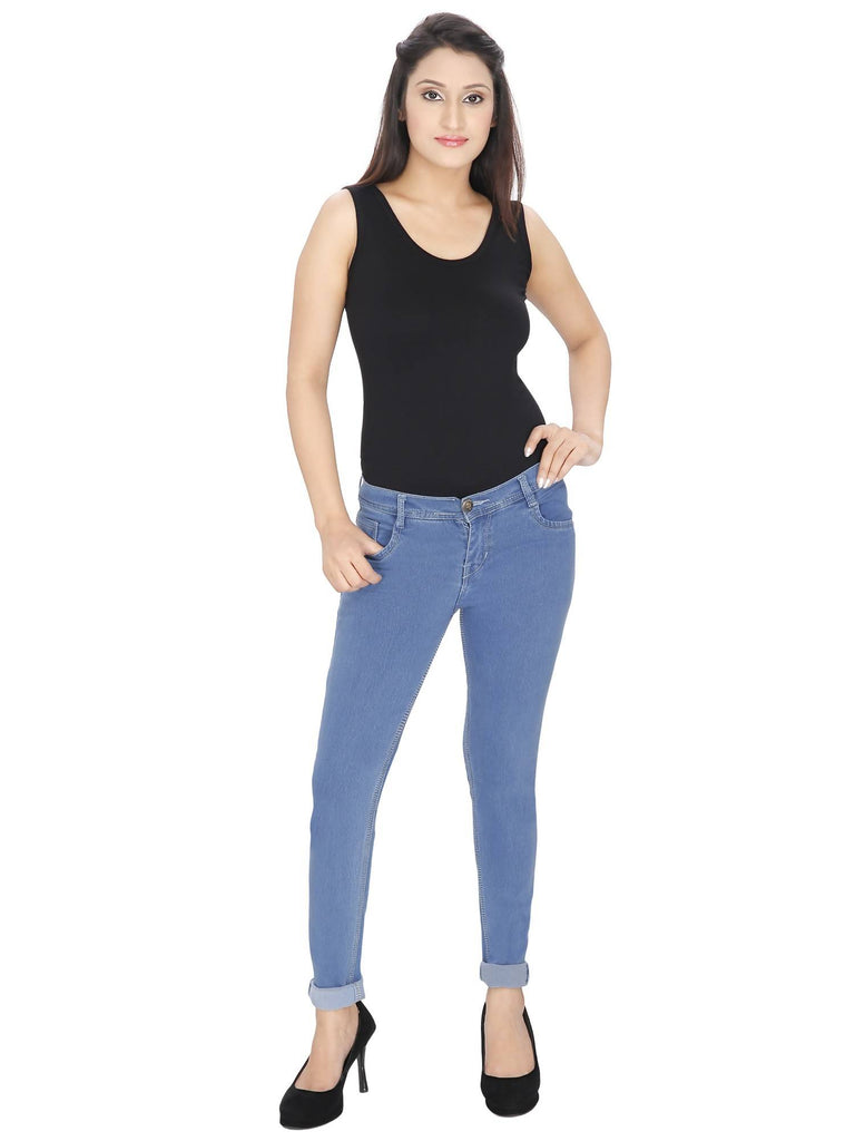 NJ's, Women Skinny Fit, Blue, Silky Denim Jeans