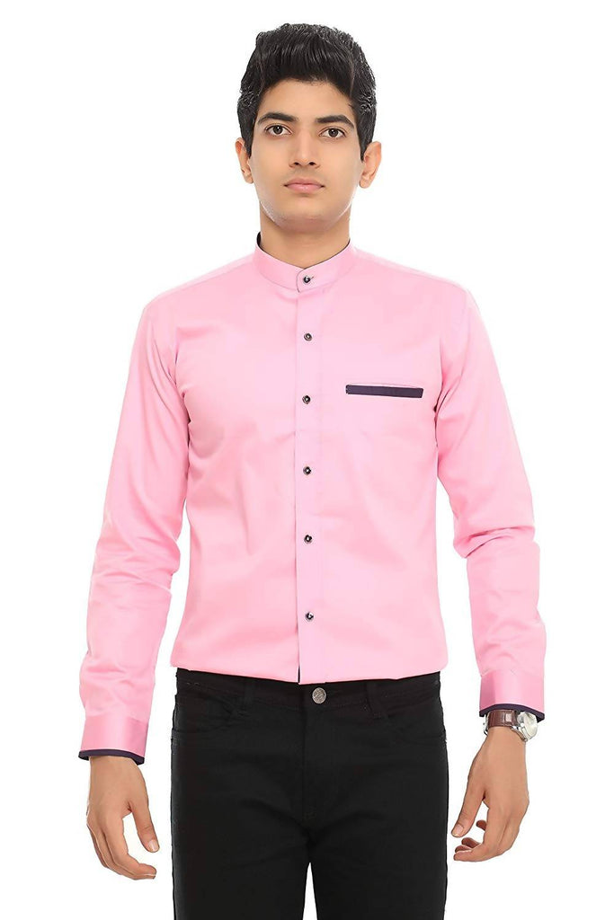 Nimegh Pink Colored Cotton Club Wear Casual Slim Fit Solid Shirt For Men