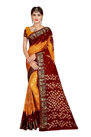 HARSHITA CREATION ART SILK YELLOW & MAROON HAND WOWEN BANDHANI SAREE