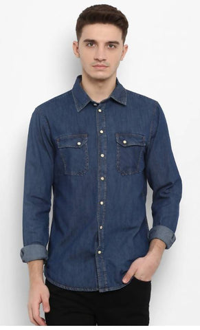 Mixtakes Dark Blue Cotton Casual Shirt