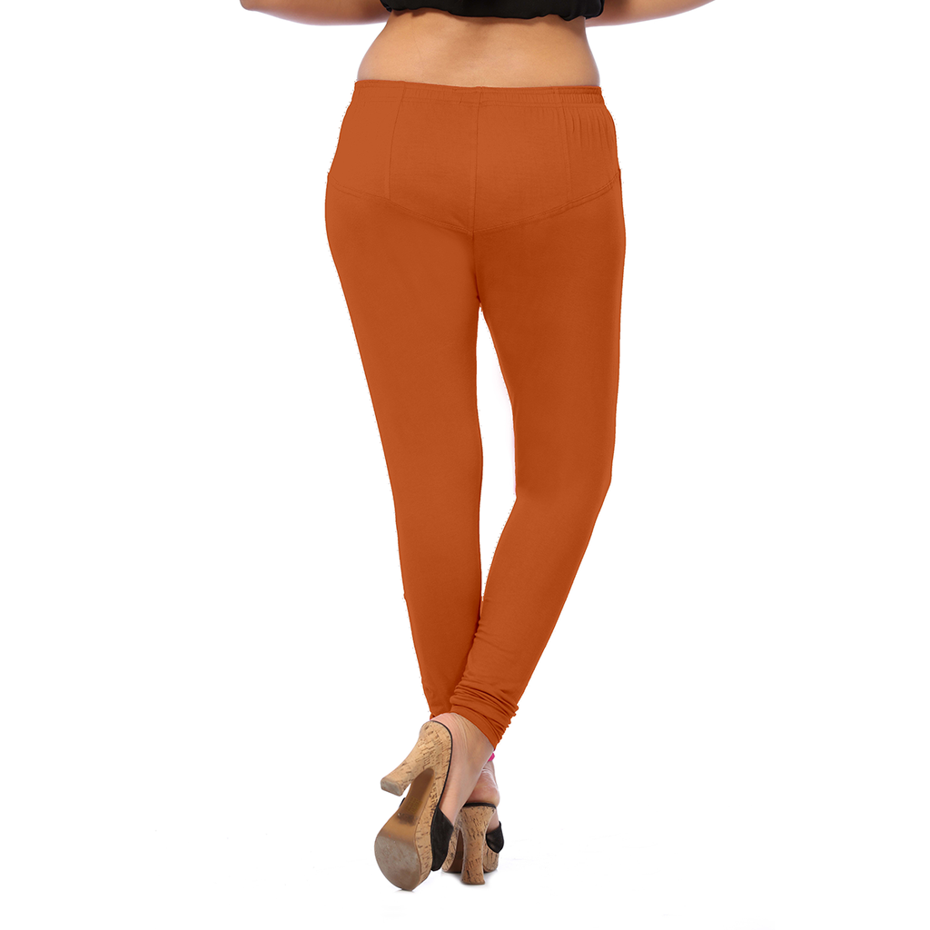 Fiery Orange Anmol Lovely & Mouldable  Cotton Leggings for Comfort Seekers