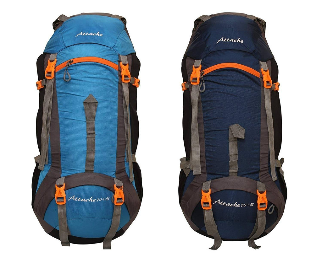 Attache 1026R Rucksack, Hiking Backpack 75Lts (Sky Blue & Navy Blue) Set of 2 With Rain Cover