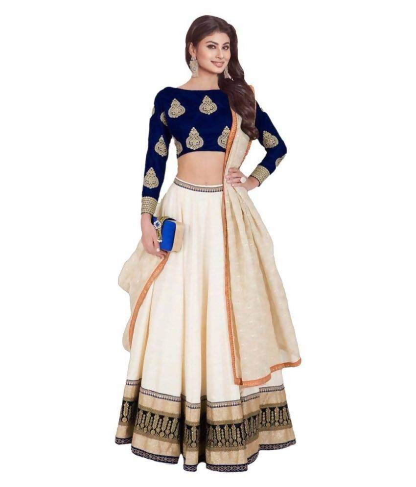 Madhav Design Embroidered Semi Stitched Lehenga, Choli and Dupatta Set  (Dark Blue)