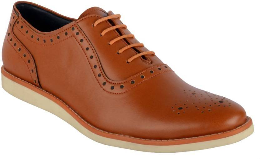 Goosebird Men's Leather Casuals For Men  (Tan)
