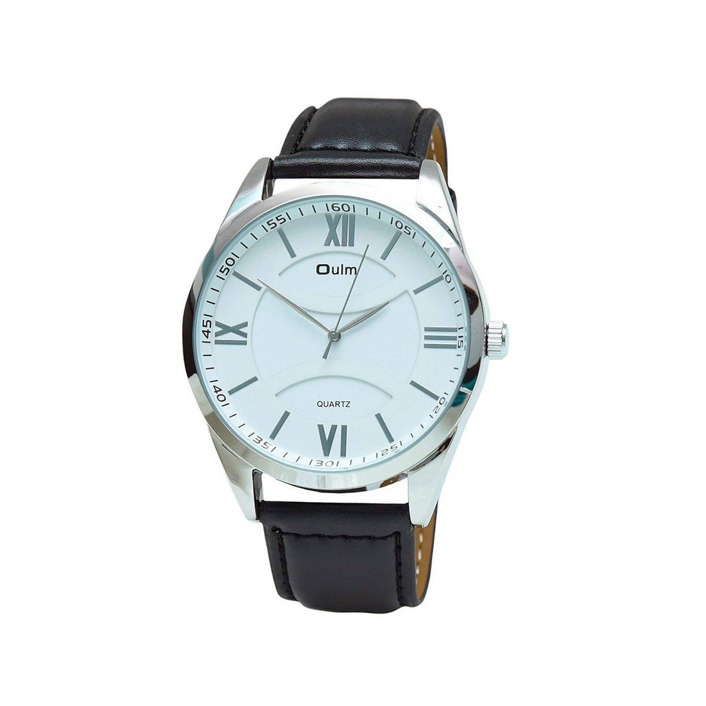 Oulm HP3697WH Analog White Dial Leather Strap Wrist Watch / Casual Watch - For Men's