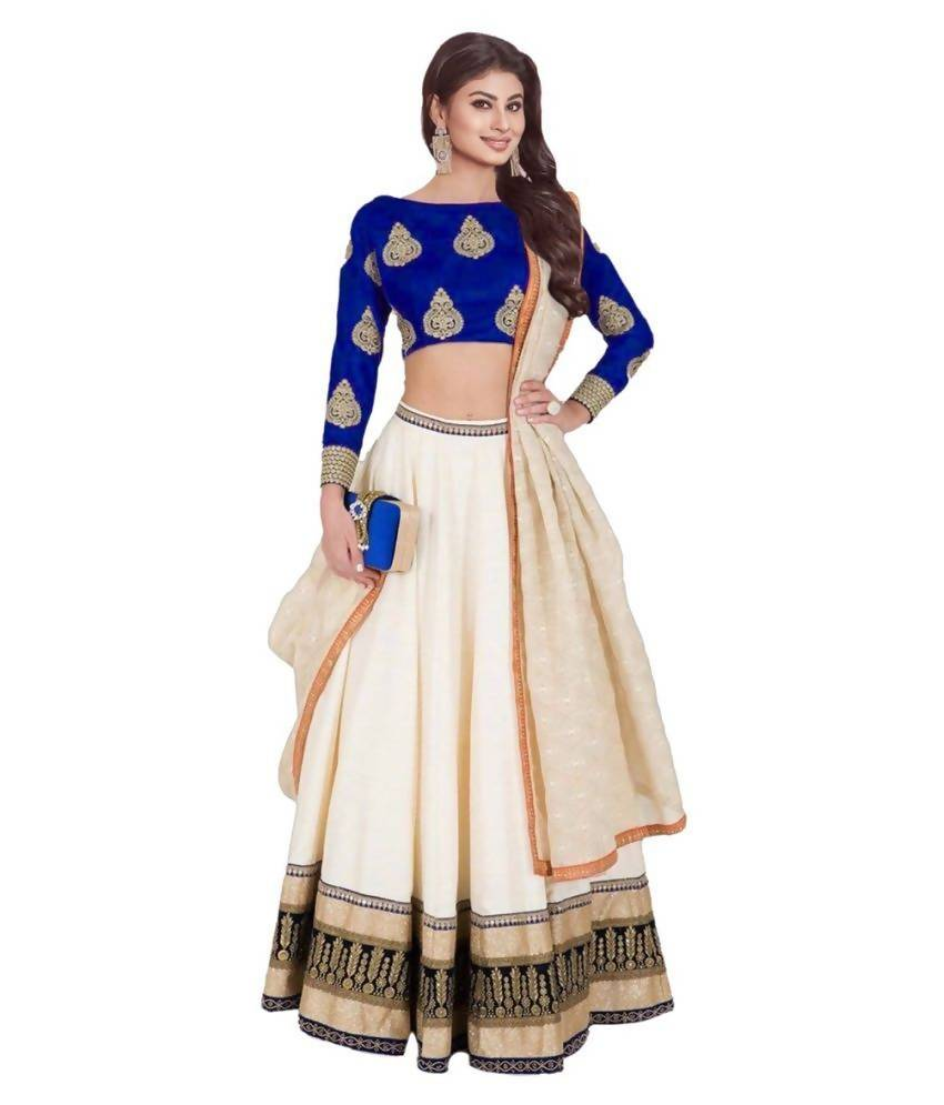 Madhav Design Embroidered Semi Stitched Lehenga, Choli and Dupatta Set  (Light Blue)