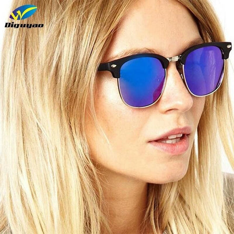 Sunglasses Blue Mercury Club Master Round Frame Goggles For Women