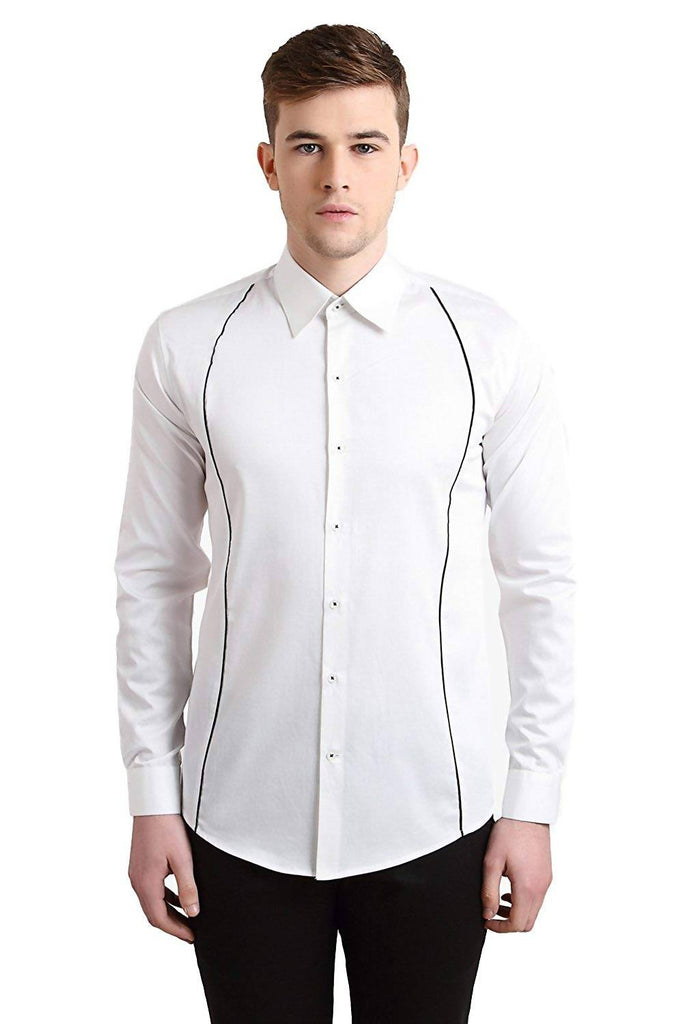 Alvin Kelly Solid White Color Casual Shirt for Men