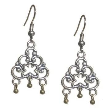 Base Metal Fashion 2 Stone,Gold Oxidise Earring