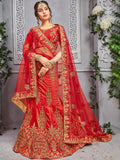 Red Pure Silk A-Line Semi-Stitched Lehenga Choli