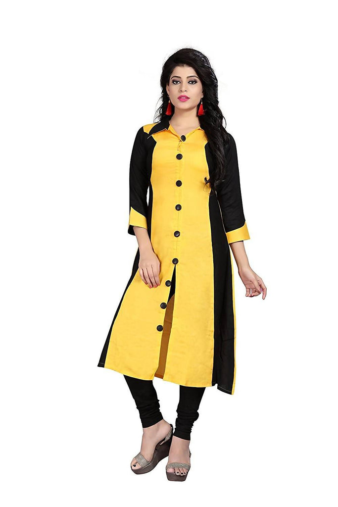 Reeva Trendz Women's Dress Yellow And Black Kurti