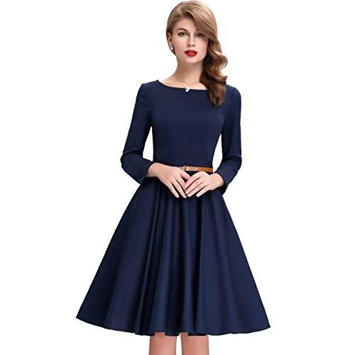 Harshita Creation Blue Satin Fully Stiched Round Neck Full Sleeves Western Dress