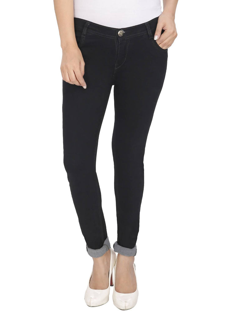 NJ's, Women Skinny Fit, Black, Silky Denim Jeans
