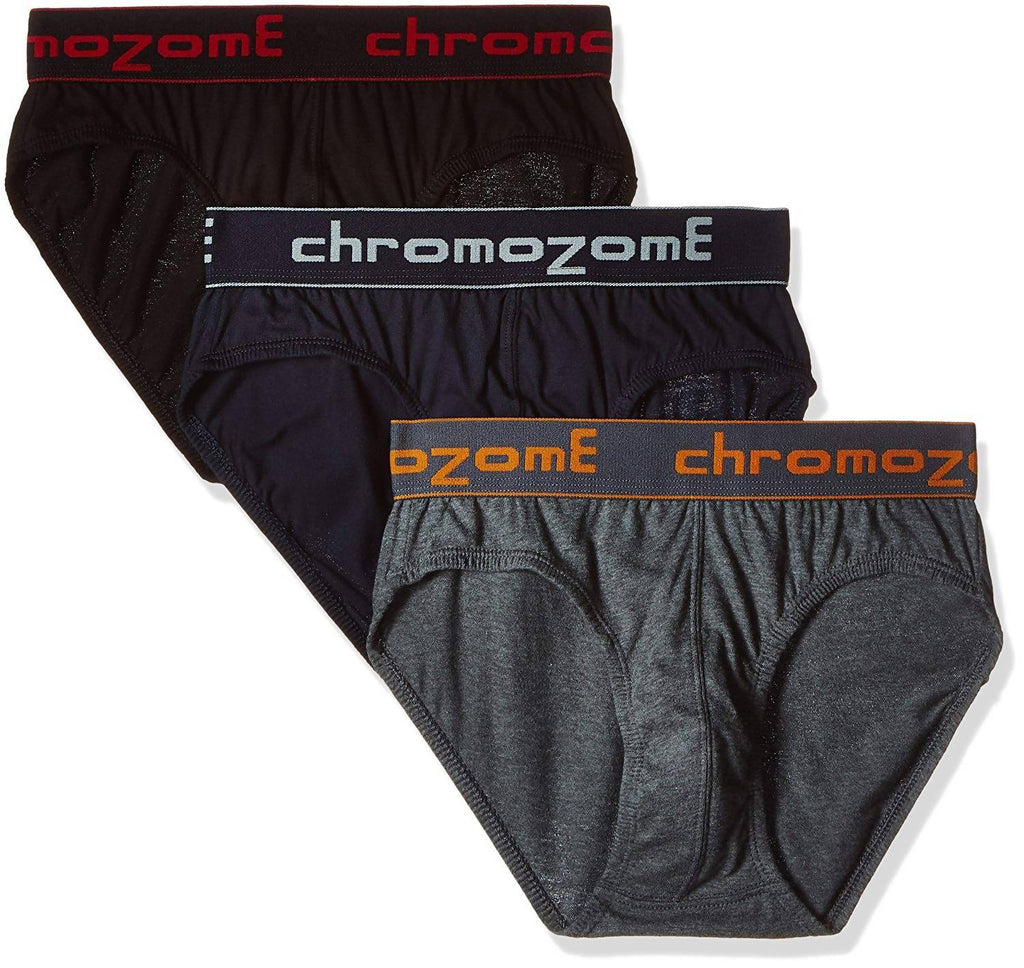 Chromozome Men's Cotton Brief (Pack of 3) (Colors May Vary)