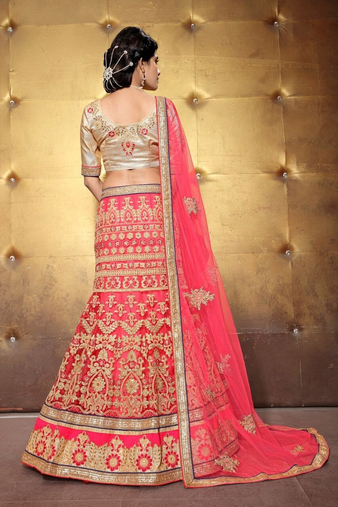 Aasvaa Gracious Women's Embroidered Net Lehenga Choli With Un-Stitched Blouse (MIRNA109_Pink_Free Size)