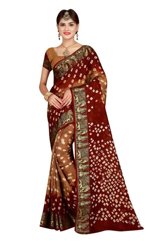 HARSHITA CREATION ART SILK BROWN & MAROON HAND WOWEN BANDHANI SAREE