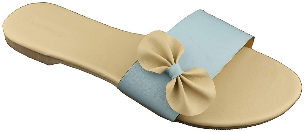 Foot Wagon Sky Blue Flats with Cream Bow | Creame Bow Slippers |Sky Blue Sandals | Flats |Ladies Sandal |Sky Blue Straps|Straps|Women Flats | Ladies Slippers |Girls Slippers |Strap Flats| Chappals
