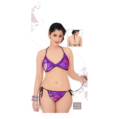 Elegant, Designer and Pretty Satin, moulded, semi-covered Bikini sets-4225-Purple
