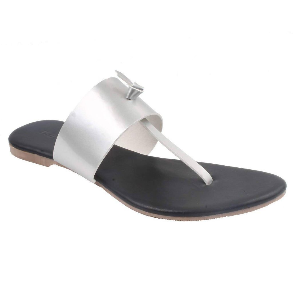 Black Leather Flats | Classy Ladies Slippers |Formal Ladies Flats | Silver Strap SDL-85 | Chappal | Footwear for Ladies | Flats | Slipper for Women