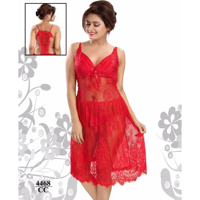 Hot, Red and Beautiful Soft Satin Net Bridal Night Wear