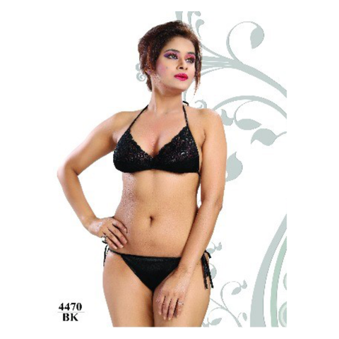 Hot, Bold and Magical Beauty in Semi-covered String Bikini Sets-4470-Black