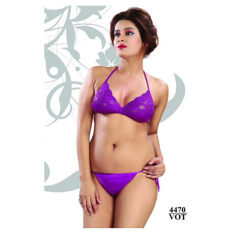 Elegante, Beauteous and Sizzling Moulded, Non-Padded Satin-net Bikini Sets-4470-Vot