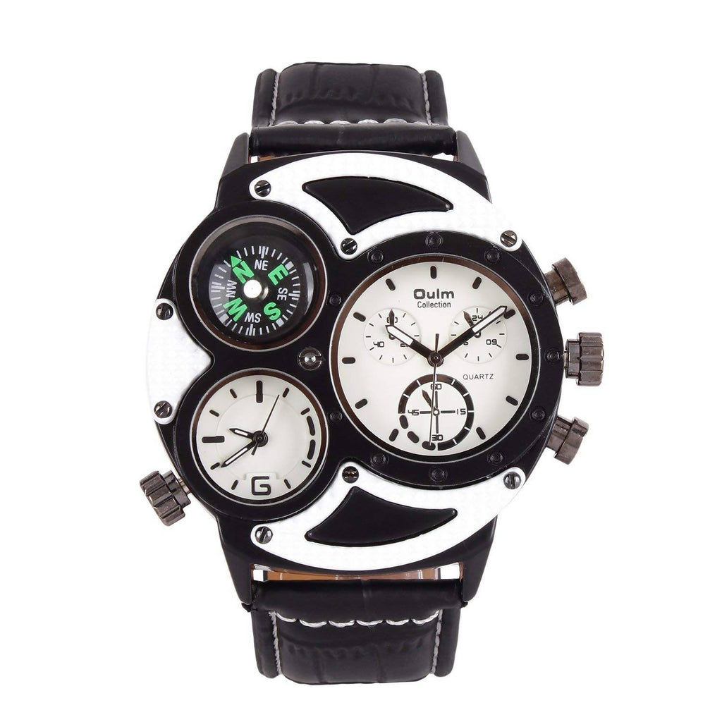 Oulm HP3594-1WH Multifunction White Dial Leather Strap Wrist Watch / Casual Watch - For Men's