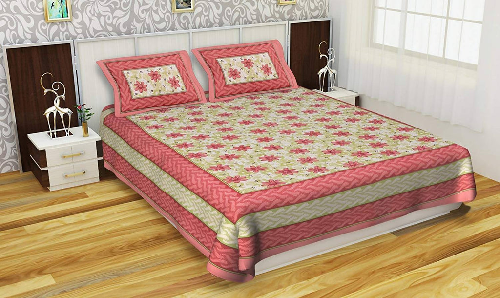 Pneha 250 TC Cotton Double Bedsheet with 2 Pillow Covers - Ethnic, Multi-Color