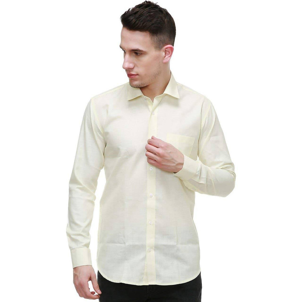 NIMEGH CREAM COLORED COTTON CASUAL SOLID SHIRT FOR MEN