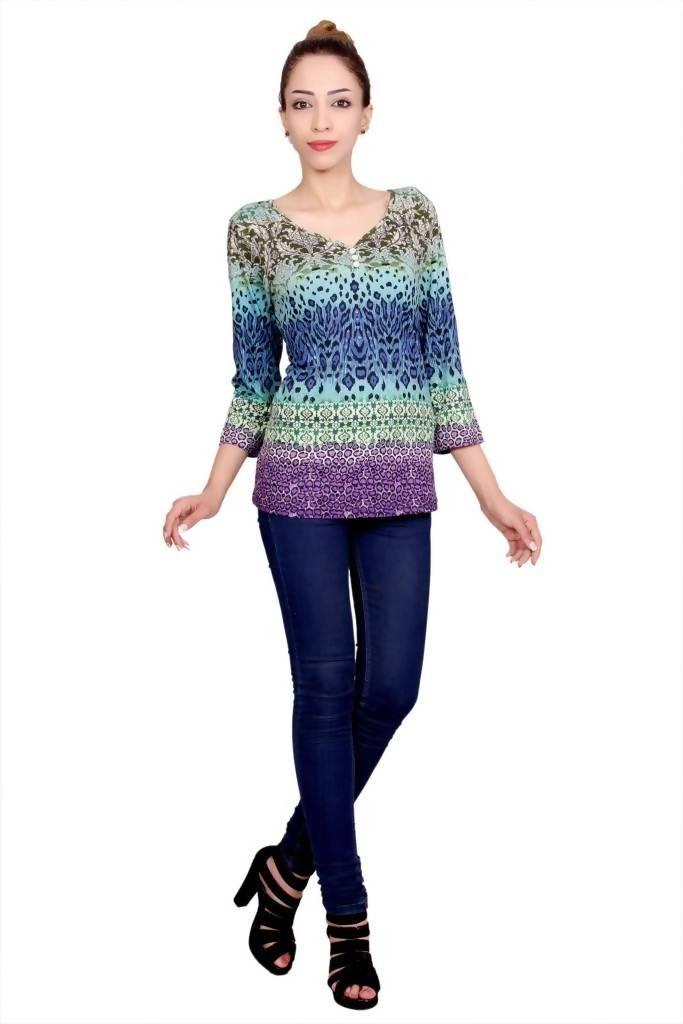 Matargashti Multi Color Net Regular Topst