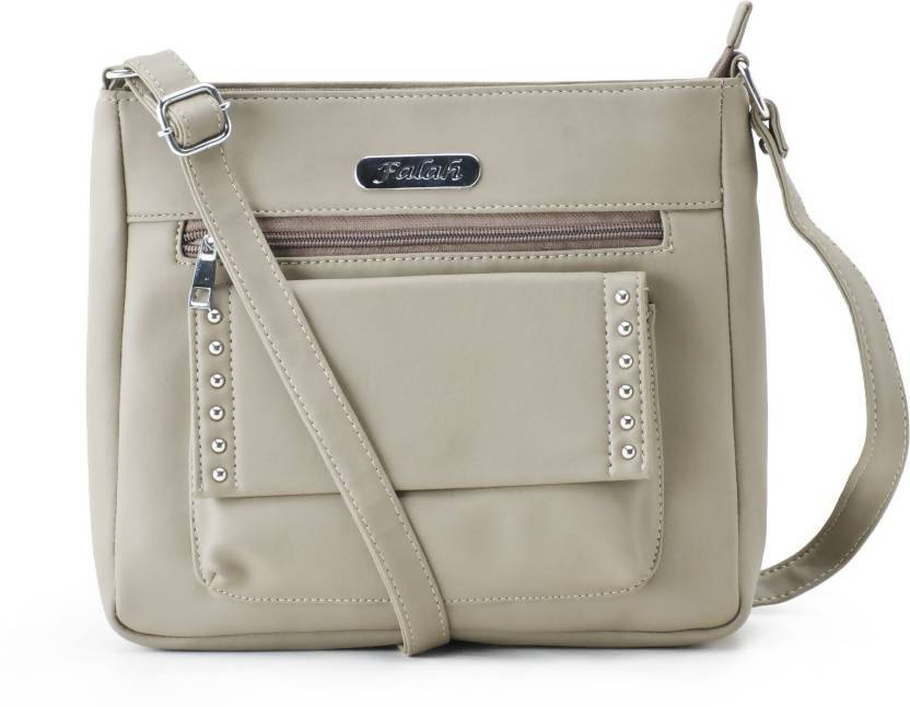 Falah Bag Works Women Casual Beige PU Sling Bag