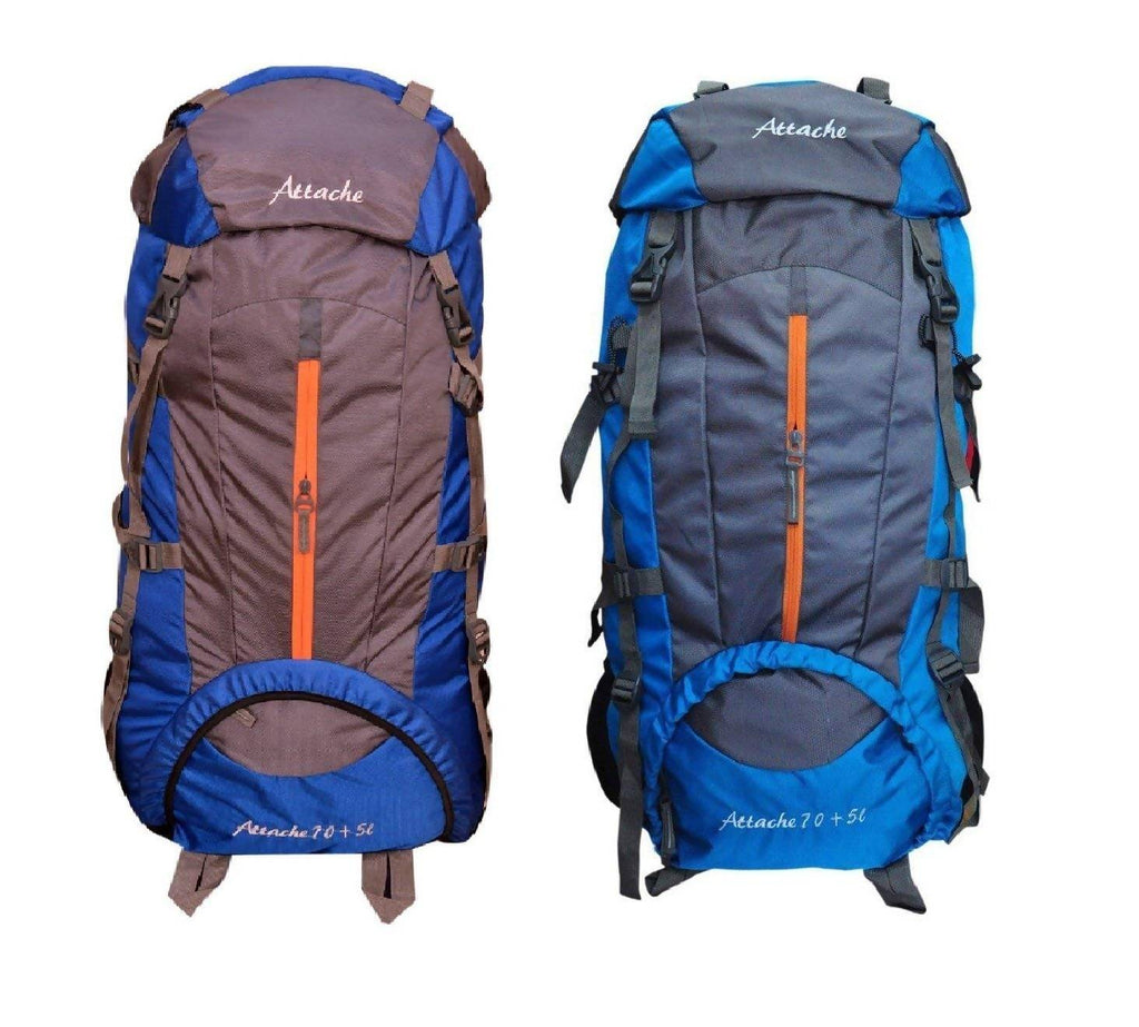 Attache 1021R Climate Proof Rucksack, Hiking Backpack 75Lts (Royal Blue & Blue) Set of 2 With Rain Cover