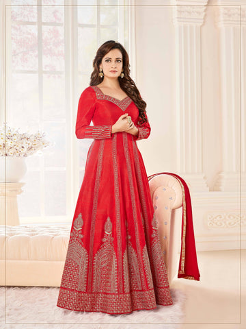 Reeva Trendz Women's Red Heavy Semi-Sttiched Salwar Suitt