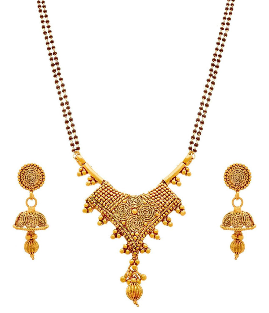 Jfl - Jewellery For Less Traditional Ethnic Spiral One Gram Gold Plated Black Bead Chain Mangalsutra With Earring For Women
