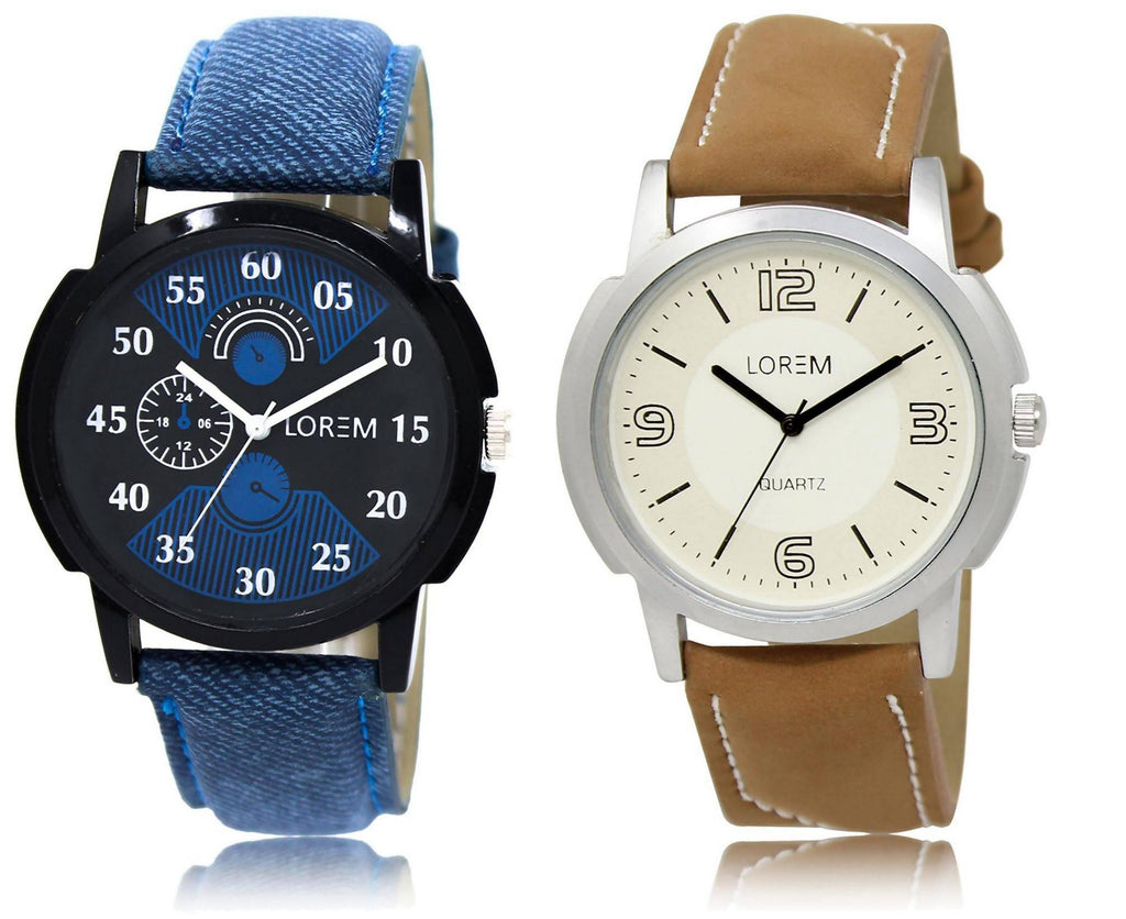 LOREM LR2-16 COMBO White & Black Round Boy's Leather Watch - For Men