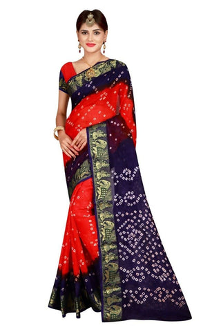 HARSHITA CREATION ART SILK ORANGE & PURPLE HAND WOWEN BANDHANI SAREE
