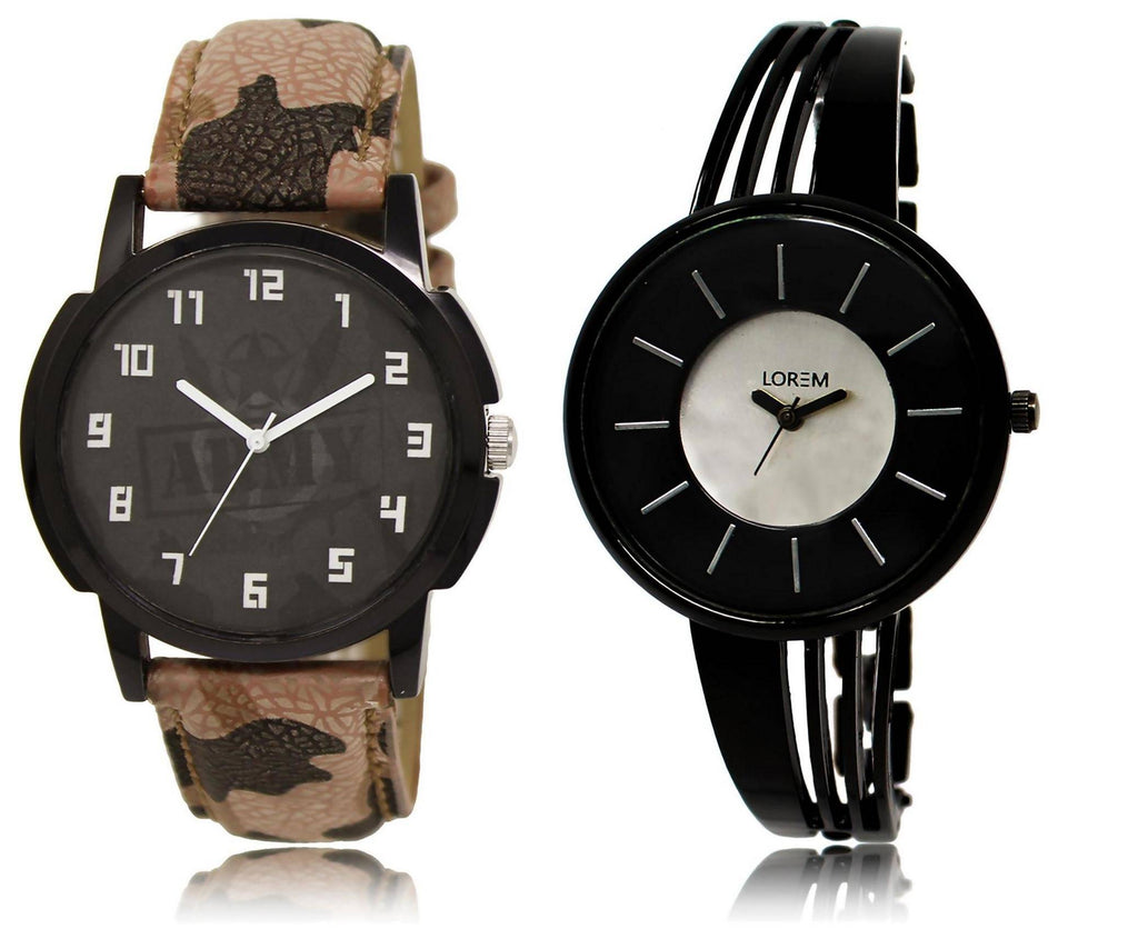 LOREM LR3-212 Stylish Silver & Black Round Boy's & Girl's Metal Bracelet & Leather Watch - For Men & Women